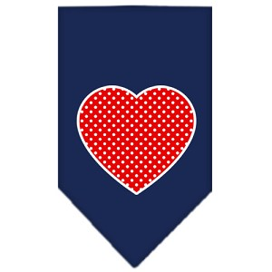 Red Swiss Dot Heart Screen Print Bandana Navy Blue large