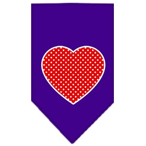 Red Swiss Dot Heart Screen Print Bandana Purple Small