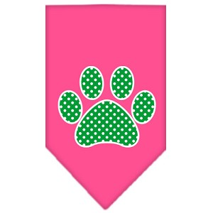 Green Swiss Dot Paw Screen Print Bandana Bright Pink Large