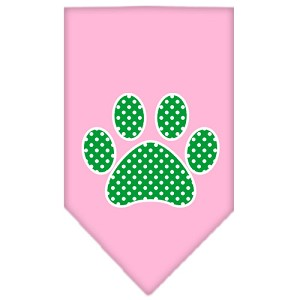 Green Swiss Dot Paw Screen Print Bandana Light Pink Large