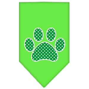 Green Swiss Dot Paw Screen Print Bandana Lime Green Small