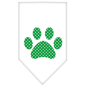Green Swiss Dot Paw Screen Print Bandana White Large