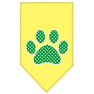 Green Swiss Dot Paw Screen Print Bandana Yellow Small