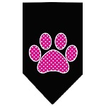 Pink Swiss Dot Paw Screen Print Bandana Black Small