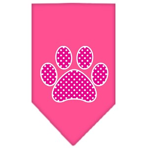 Pink Swiss Dot Paw Screen Print Bandana Bright Pink Large
