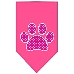 Pink Swiss Dot Paw Screen Print Bandana Bright Pink Small