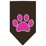 Pink Swiss Dot Paw Screen Print Bandana Cocoa Small