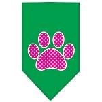 Pink Swiss Dot Paw Screen Print Bandana Emerald Green Small