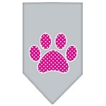 Pink Swiss Dot Paw Screen Print Bandana Grey Small