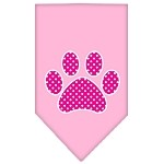 Pink Swiss Dot Paw Screen Print Bandana Light Pink Small