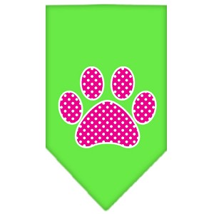 Pink Swiss Dot Paw Screen Print Bandana Lime Green Small