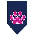 Pink Swiss Dot Paw Screen Print Bandana Navy Blue Small