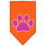 Pink Swiss Dot Paw Screen Print Bandana Orange Small