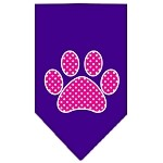 Pink Swiss Dot Paw Screen Print Bandana Purple Small
