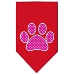 Pink Swiss Dot Paw Screen Print Bandana Red Small