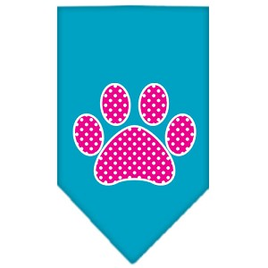 Pink Swiss Dot Paw Screen Print Bandana Turquoise Large
