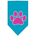 Pink Swiss Dot Paw Screen Print Bandana Turquoise Small