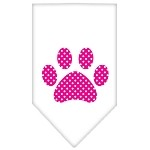 Pink Swiss Dot Paw Screen Print Bandana White Small