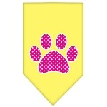 Pink Swiss Dot Paw Screen Print Bandana Yellow Small