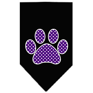 Purple Swiss Dot Paw Screen Print Bandana Black Large