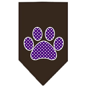 Purple Swiss Dot Paw Screen Print Bandana Cocoa Large