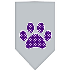 Purple Swiss Dot Paw Screen Print Bandana Grey Large