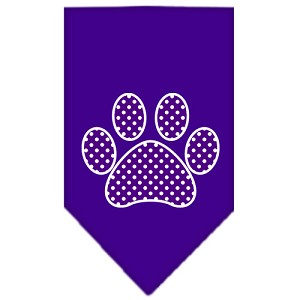 Purple Swiss Dot Paw Screen Print Bandana Purple Large