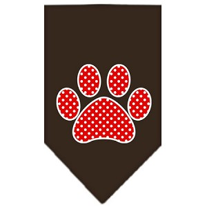 Red Swiss Dot Paw Screen Print Bandana Cocoa Small