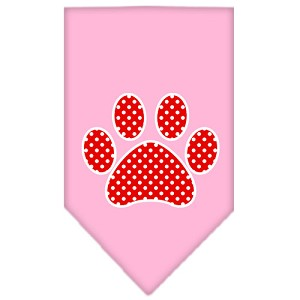 Red Swiss Dot Paw Screen Print Bandana Light Pink Small
