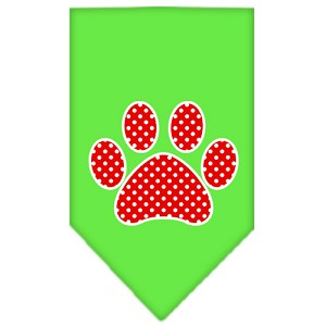 Red Swiss Dot Paw Screen Print Bandana Lime Green Large