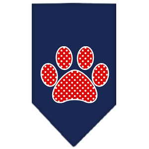 Red Swiss Dot Paw Screen Print Bandana Navy Blue large