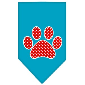 Red Swiss Dot Paw Screen Print Bandana Turquoise Small