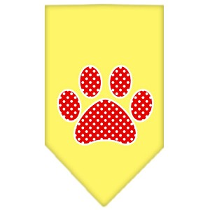 Red Swiss Dot Paw Screen Print Bandana Yellow Small