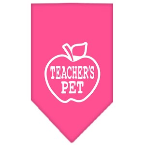 Teachers Pet Screen Print Bandana Bright Pink Large