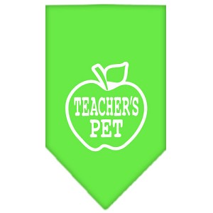 Teachers Pet Screen Print Bandana Lime Green Small