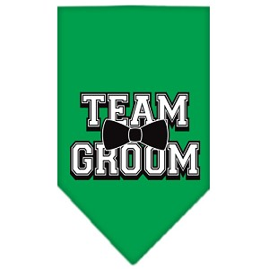 Team Groom Screen Print Bandana Emerald Green Small