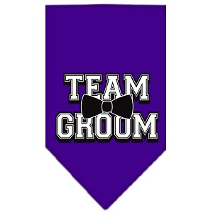 Team Groom Screen Print Bandana Purple Small