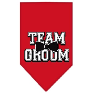 Team Groom Screen Print Bandana Red Large