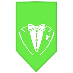 Tuxedo Screen Print Bandana Lime Green Small