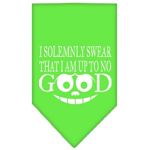 Up to No Good Screen Print Bandana Lime Green Small