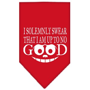 Up to No Good Screen Print Bandana Red Small