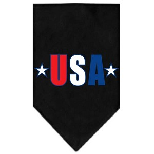 USA Star Screen Print Bandana Black Large