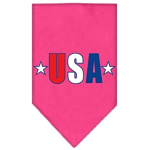 USA Star Screen Print Bandana Bright Pink Small