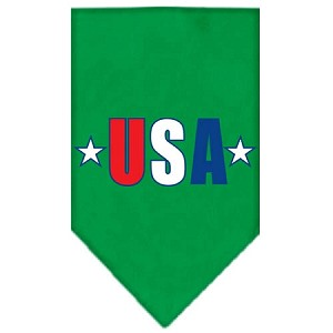 USA Star Screen Print Bandana Emerald Green Large