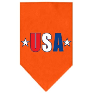 USA Star Screen Print Bandana Orange Large