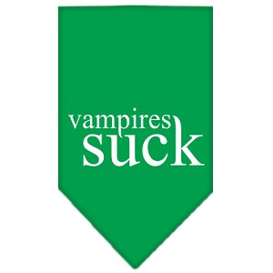 Vampires Suck Screen Print Bandana Emerald Green Large