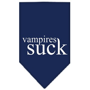 Vampires Suck Screen Print Bandana Navy Blue Small