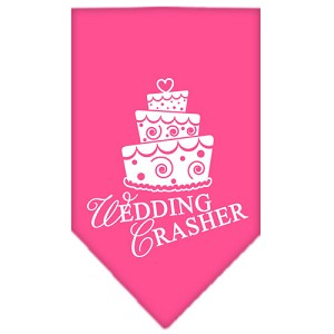 Wedding Crasher Screen Print Bandana Bright Pink Small
