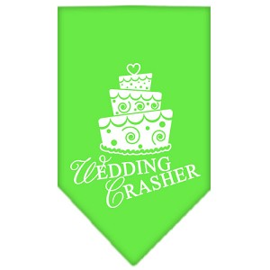 Wedding Crasher Screen Print Bandana Lime Green Small