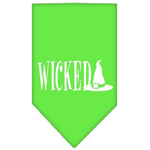 Wicked Screen Print Bandana Lime Green Small